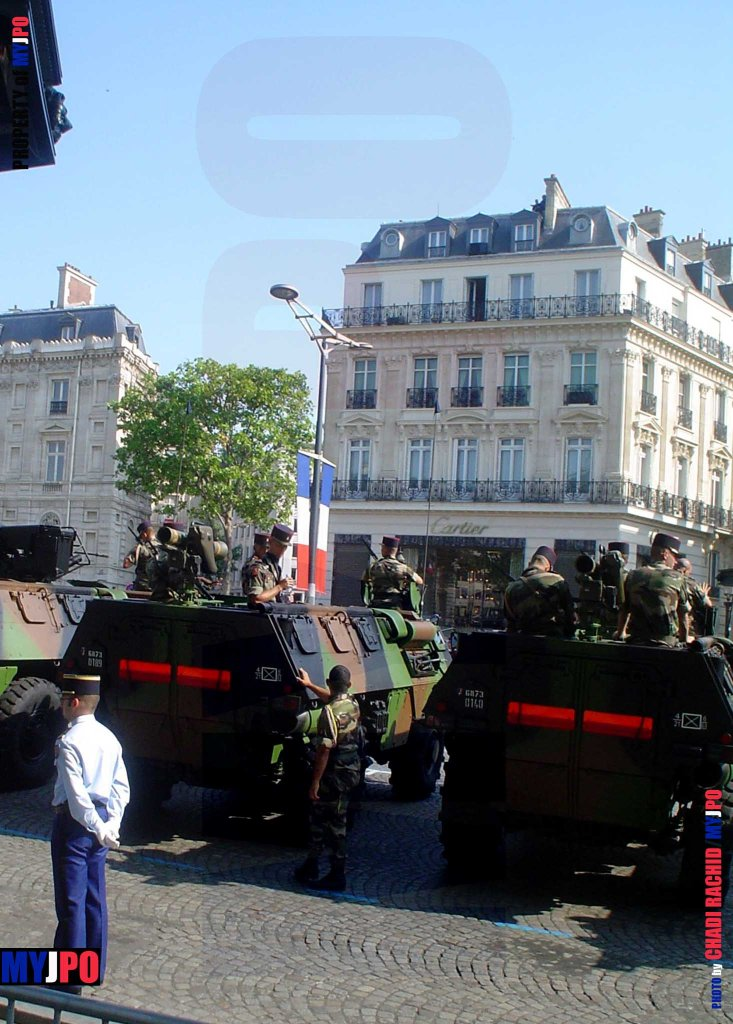 French Army VAB MILAN of the 21e régiment d'infanterie de marine during the 14 of July parade, Paris, 2005.